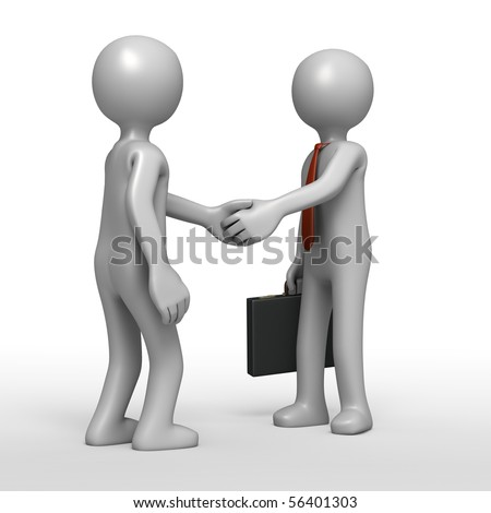 Sealing the Deal [3D Shake Hands] - stock photo