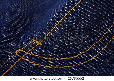 Seam Jean ,Jeans texture with seam ,close up, detail - stock photo