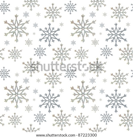 seamless a background from snowflakes on the white - stock photo