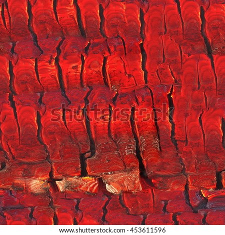 Seamless abstract background. Burning log of wood close-up as abstract background. The hot embers of a burning wood log fire. Firewood burning on a grill. Texture fire bonfire embers. Smoldering fire - stock photo