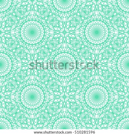 Seamless abstract background pattern with green guilloche ornament isolated on white background