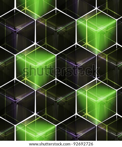 Seamless abstract colorful background made of cubes and hexagons - stock photo