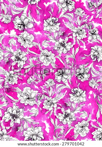 seamless abstract floral pattern design. abstract watercolor roses and camellias garden growing with swirls and leaves. modern classic textile theme. monochrome flowers with ink strokes.  - stock photo