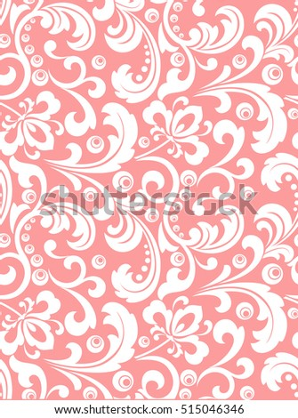 Seamless abstract floral pattern. Modern  graphic. Pink and white background. Geometric leaf ornament. Stylish graphic pattern.