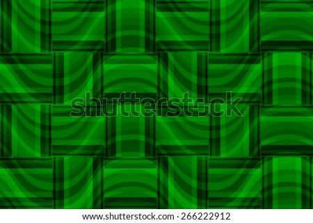 seamless abstract green pattern emerald texture with rectangle with green line on dark green wicker background raster - stock photo
