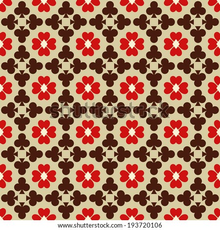 Seamless abstract pattern with card suits - stock photo