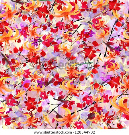 seamless abstract pattern with flowers. watercolor painting - stock photo
