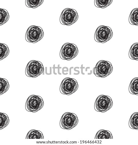 Seamless abstract  scribble polka dot pattern (monochrome) for wrapping paper, textile, wallpaper design - stock photo