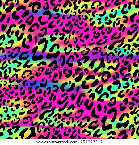 seamless animal pattern. neon background, white leopard spots - stock photo