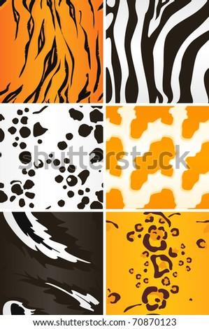 Seamless animal patterns, Bitmap copy - stock photo