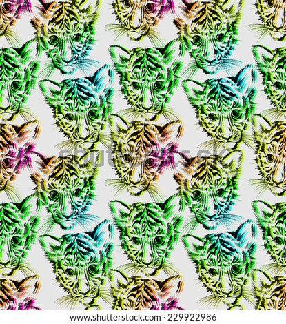 seamless animal print pattern. tiger portrait distorted, RGB destortion style. - stock photo
