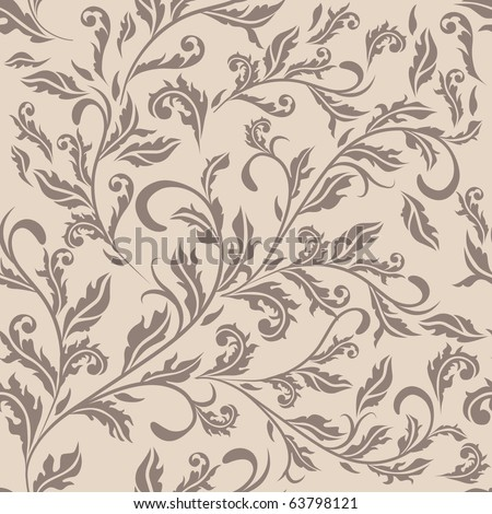 Seamless antique beige floral pattern. Raster version. Vector version is in my gallery. - stock photo
