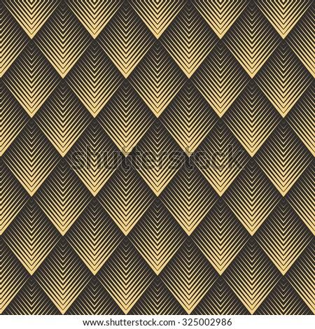 Seamless antique palette black and gold op art rhombic chevron blend pattern - stock photo