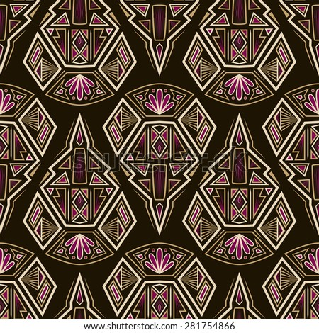 Seamless antique pattern ornament. Geometric art stylish background repeating texture - stock photo