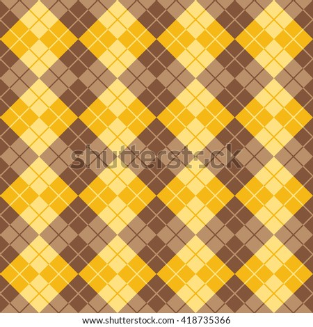 Seamless argyle pattern in alternating colors of yellow and brown.
