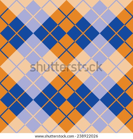 Seamless argyle pattern in orange and blue. - stock photo