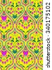 seamless art nouveau wallpaper pattern. Ornaments, borders and bleeding heart flowers in a gentle elegant colorful layout, with very detailed, hand drawn, vintage illustrations.  - stock vector