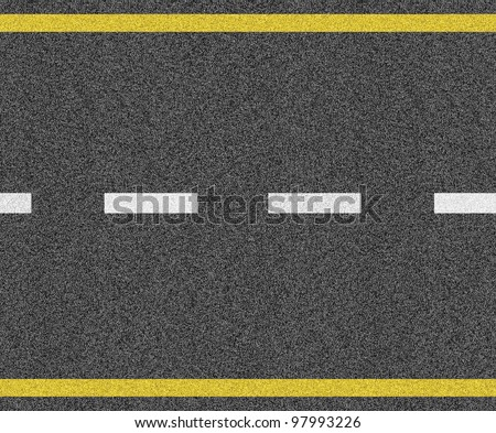 Seamless asphalt texture with white and yellow marking - stock photo
