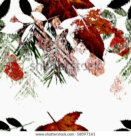 Seamless Autumn Falling Leaves Art Abstract Design - stock photo
