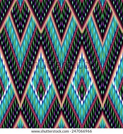 seamless aztec ikat pattern - stock photo