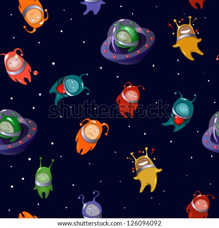 Seamless background: aliens  in a cartoon style. Rasterized copy of vector image. - stock photo