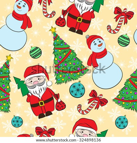 Seamless background, Christmas and New Year's decorative elements.  Suitable for various designs, invitation, thank you card, wrapping paper pattern and scrapbooking. - stock photo