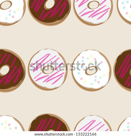 Seamless background design of fresh doughnuts, or donuts, glazed with chocolate and pink and white icing covered in sprinkles for a delicious tea or breakfast - stock photo