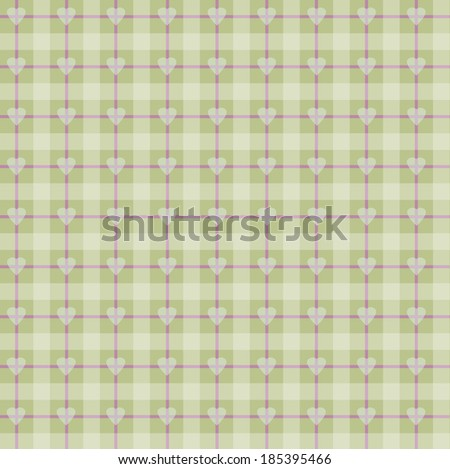 Seamless background fabric in a cage with beige hearts. Abstract. Background set of plaid pattern.