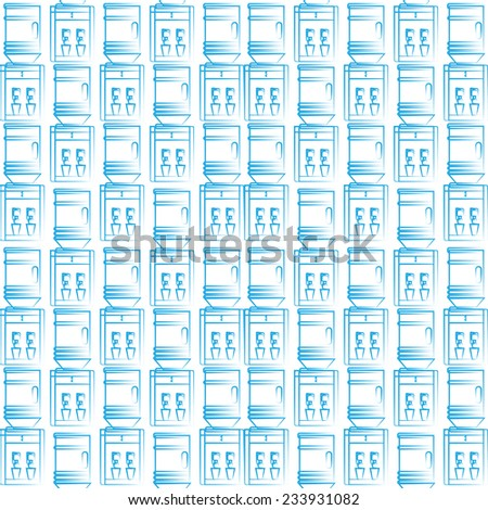 Seamless background for water cooler. Seamless pattern with blue sketch water coolers on white background. - stock photo