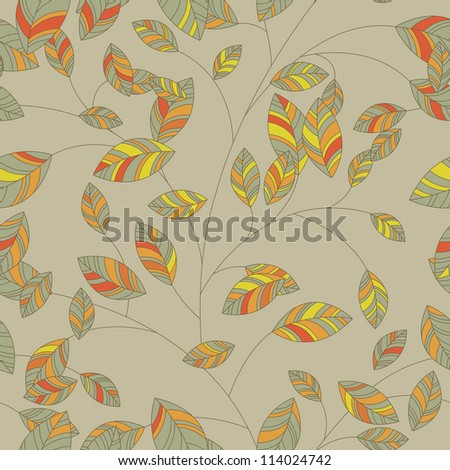 Seamless background leaf for retro design - stock photo