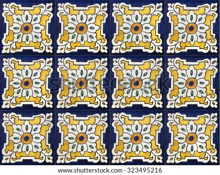 Seamless background made of decorative ceramic tiles - stock photo