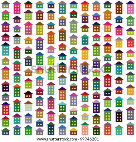 Seamless background made of multicolor simple houses. Vector version available. - stock photo
