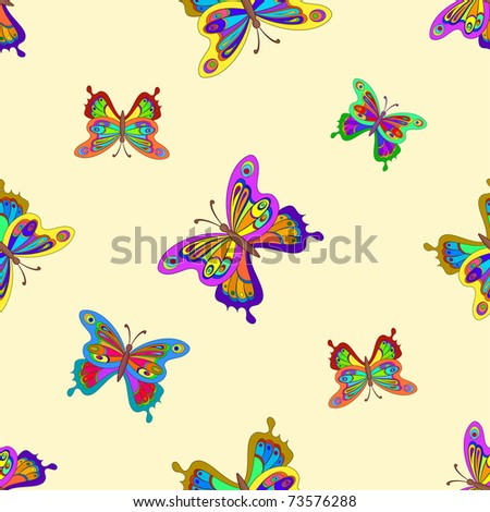 seamless background, multi-coloured butterflies with opened wings