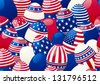 Seamless background of Easter eggs with american  flag	Horizontal  background of  many easter eggs with stars and stripes at style of USA flag. - stock photo