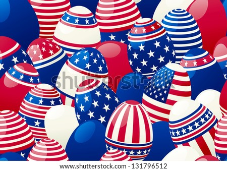 Seamless background of Easter eggs with american  flag	Horizontal  background of  many easter eggs with stars and stripes at style of USA flag.