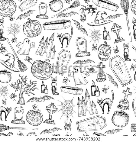 Seamless background of Halloween icons for decoration. Scary Halloween sketch illustration.