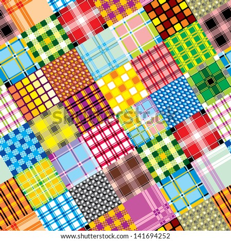 seamless background of textile patchwork