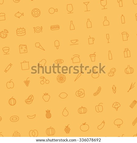 Seamless background pattern for food and drinks made of thin line icons. - stock photo