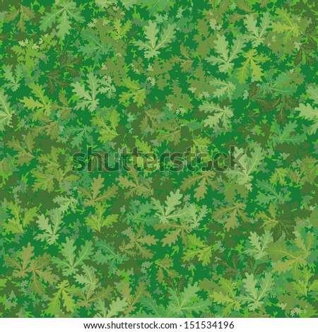 Seamless background, pattern of oak green leaves. - stock photo