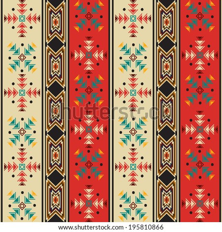 Seamless background pattern with navaho style motif - stock photo