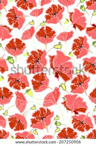Seamless background: poppy - stock photo