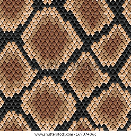 Seamless background snakeskin pattern showing scale detail with a geometric diamond formation in shades of brown. Vector version also available in gallery - stock photo