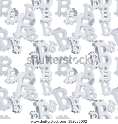 Seamless background texture pattern made of silver bitcoin peer-to-peer crypto currency signs over white - stock photo