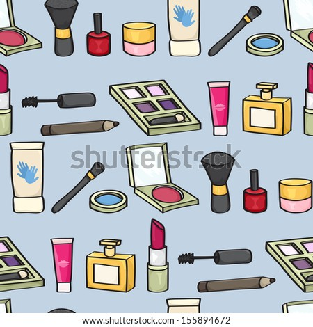Seamless background tile with cartoon style cosmetics on a blue background. Raster Version.