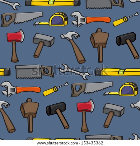 Seamless background tile with hand drawn cartoon building tools. Raster Version. - stock photo