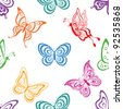 Seamless background, various symbolical butterflies, coloured contours on a white background - stock photo