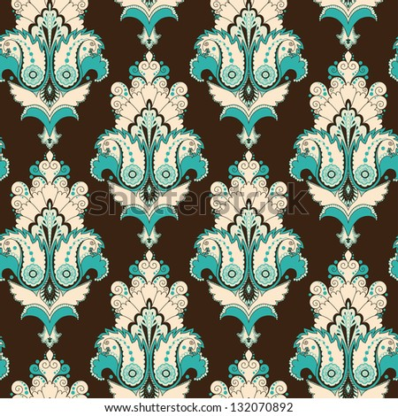 Seamless background. Vintage damask pattern. Raster copy of the vector. - stock photo