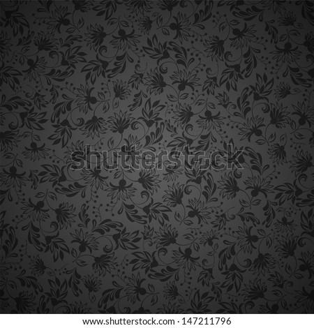 Seamless background with black ornaments