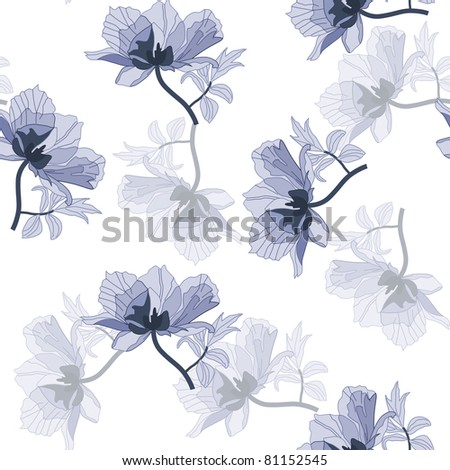 Seamless background with blue poppies in retro style (jpg) - stock photo