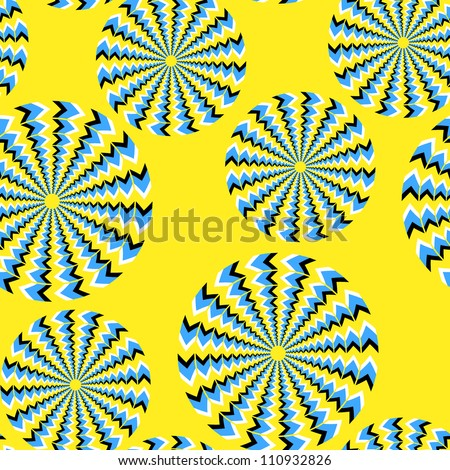 Seamless background with bright optical illusions of rotation executed from rhombuses - stock photo